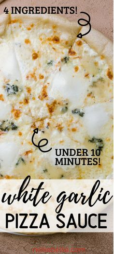 Creamy White Garlic Pizza Sauce --- under 10 minutes! Creamy White Garlic Pizza Sauce --- under 10 minutes! Only 4 ingredients for this creamy white garlic pizza sauce made in under 10 minutes. White Pizza Recipes, Italian Recipes, Vegetarian Recipes, Cooking Recipes, Beef Recipes, Chicken Recipes, Snack, Creamy White, Food To Make