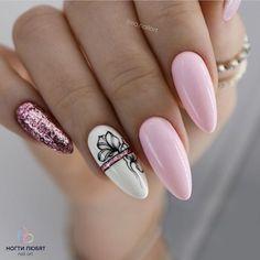 55 Best Floral Nail Art Designs 2020 - Page 43 of 55 - TipSilo Dream Nails, Love Nails, Pretty Nails, Best Acrylic Nails, Acrylic Nail Designs, Nail Art Designs, Nail Manicure, Gel Nails, Nail Polish