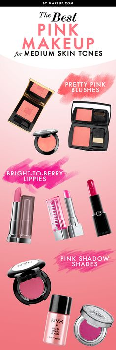 Girls with medium skin tones have it good! Most makeup looks stunning on medium skin tones, especially pink makeup! From rosy pink cheeks to bright berry lips, we'll tell you which shades of pink work best with your complexion.