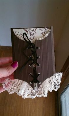 Corset invitations...Would be cute for a bridal shower invitation. With the bride's measurements.
