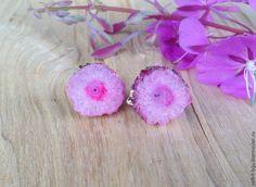 """Купить Пусеты """"Розовый зефир"""" - розовый, пусеты, пусеты с друзами, друза кварца, переливающийся, искрящийся"""