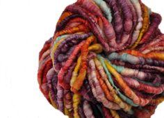 Handspun Art Yarn, Luxury textured Poofy Corespun - Superwash Merino  - HUMAN NATURAL on Etsy, $29.50
