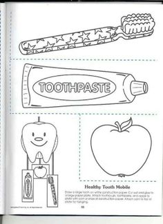Toothbrush, Toothpaste and Dental floss color page