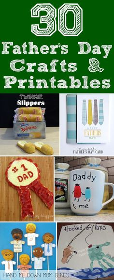 Need a last minute father's day gift? 30 Father's Day Crafts and Free Printables Round Up from Hand Me Down Mom Genes. #fathersday #fathersdaygift #crafts #diy