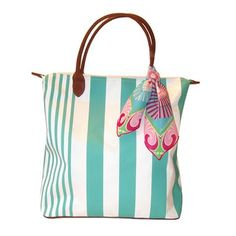 Barth & McCallig Fairway Stripe Turquoise Golf Tote Bag