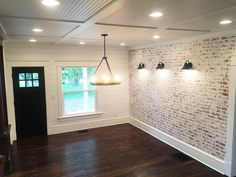 How to build a fake brick wall. the restorative house – Faux brick walls – Wall Panel Faux Brick Wall Panels, Fake Brick Wall, Brick Wall Paneling, Faux Walls, Brick Accent Walls, White Brick Walls, Brick Feature Wall, Dining Room Feature Wall, Exposed Brick Walls