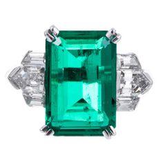 6.39Ct. Emerald, Shield and Baguette Cut Diamond Platinum Ring