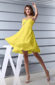 Pale Yellow Modest A-line One Shoulder Criss-cross Straps Short Ruching Bridesmaid Dresses