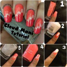Nail Art How To: Cotton Candy Cloud Mani Tutorial Cotton Candy Nails, Diy Nail Designs, Diy Design, Super Nails, Nail Tutorials, Cool Nail Art, Nail Manicure, Nail Polish, Red Nails
