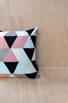 Cushion cover // geometric pattern // pale pink, pale green, beige, black and cream. $32.00, via Etsy. Living Room Redo, Geometric Pillow, Work Inspiration, Pale Pink, Beige, Cushions, Throw Pillows, Quilts, Interior Design