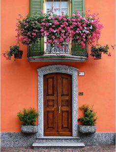 Santa Maria Maggiore, Piedmont, Italy – Decor is art Fachada Colonial, Balcony Flowers, Unique Doors, Balcony Garden, Balcony Door, Window Boxes, Flower Boxes, Windows And Doors, Architecture