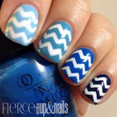 Fierce Makeup and Nails: The Digital Dozen does Monochromatic: Blue Chevrons