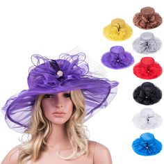 A342 Womens Wide Brim Dress Church Kentucky Derby Flower Summer Party Formal Hat | eBay