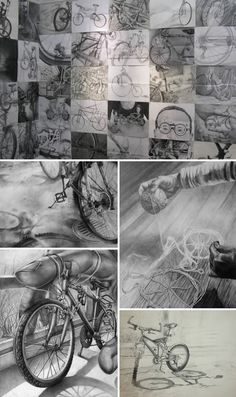 These drawings are completed entirely in graphite pencil or charcoal on white paper and may be realistic or abstract. They may be derived from the whole or part of the bicycle, arranged alone or with any other object/s or scene. These examples show the exciting level of skill and creativity demonstrated by students applying to the Rhode Island School of Design.