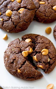 These flourless peanut butter brownie cookies are so rich and indulgent tasting, you won't miss the flour and butter!
