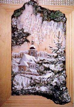 (1) Gallery.ru / Фото #45 - на бересте - ninmix Crafts To Do, Wood Crafts, Birch Bark Crafts, Christmas Flower Arrangements, Acorn Crafts, Pallet Wall Art, Reclaimed Wood Art, Girly Drawings, Pintura Country