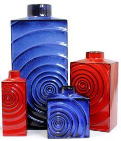 Cari Zalloni; Glazed Ceramic 'Zyclon' Vases for Steuler, 1960s.