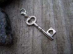 Silver Key Charm - Midori Charm - Fauxdori Traveler's Notebook Charm - Tibetan Silver by PohakantenJournals on Etsy