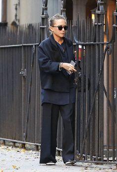 Olsens Anonymous Fashion Blog Mary Kate Olsen Twins Satin Jacket The Row Croc Bag Button Down Shirt Wide Leg Pants Platform Shoes