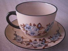 Tasse et sous-tasse à chocolat, fleurs de pommier , grès de Ciboure | eBay