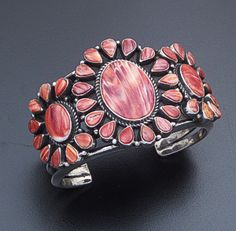 Kirk Smith (Navajo) - Vintage Red Shell & Sterling Silver Triple Oval Cluster Cuff Bracelet #40944 $1,100.00