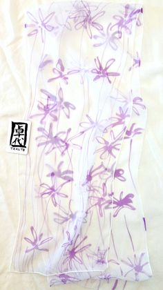 Hand Painted Silk Scarf Spring Purple Meadow by SilkScarvesTakuyo