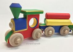 FOUR CAR Solid Wood Play Toy Christmas Train in by VibrantTrains, $63.80