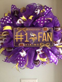 I think my hubby would want me to make this Vikings wreath
