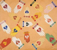Heart-and-Hand Love token. Ink and varnish on cut paper 12 x 14 in. American Folk Art Museum