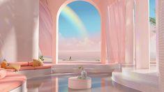 Dreamscapes Artificial Architecture - Imagined interior design in digital art - gestalten Architecture Design, Architecture Diagrams, Minimalist Architecture, Living Divani, Image Deco, Aesthetic Rooms, Peach Aesthetic, Aesthetic Pastel, Retro Futurism