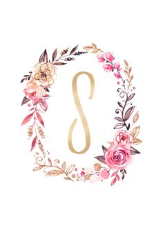 Looking to add some sparkle to your wall decor? Use these free glitter and glam monogram printables to add a fun personalized touch to any space! Frame Floral, Floral Letters, Flower Frame, Monogram Letters, Monogram Wallpaper, Alphabet Wallpaper, Cute Wallpapers, Wallpaper Backgrounds, Iphone Wallpaper