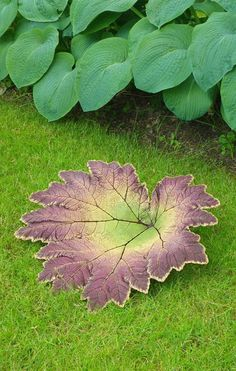 "Concrete Leaf Castings: ...These Would Really Be Cute As A Bird Feeder, A Bird Bath Or Just Tucked Away In A Little Spot Of Your Garden/Yard For That Something ""Unexpected"" Look...Add A Copper Fitting If You Want To Put Your Cast Leaf On A Copper Pipe Pedestal, For A Raised Bird Bath Or Feeder)...Click On Picture To Read On How To Make Your Own..."