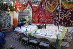 Funky Sukkah tablescape