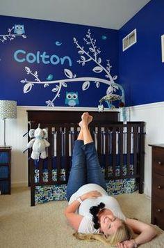 A beautiful Navy Blue Owl Nursery Theme for a baby boy