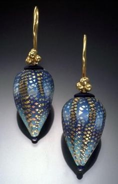 Elise Winters. Polymer clay, 14K gold vermeil ear wires. by Ruth Olene Shannon