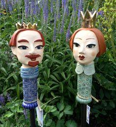 König und Königin als Deko-Gartenstecker