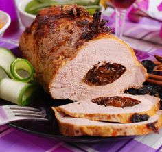 roasted pork loin stuffed with prune and spices on festive table Pork Ham, Pork Loin, Pork Roast, Pork Recipes, Paleo Recipes, Cooking Recipes, Healthy Eating Tips, Healthy Cooking, Homemade Ice Cream