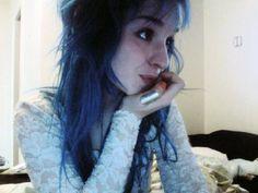 blue hair white lace