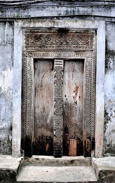 Africa | Lovely old door in Ngambo, Zanzibar West, Tanzania | © Scurvy_knaves on flickr