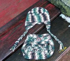 Newborn Crochet Camouflage Hat and Diaper by MaggiePaggieDesigns, $20.00