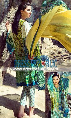 Khadija Shah Elan Lawn Spring 2014 Collection with Mahira Khan   by www.dressrepublic.com