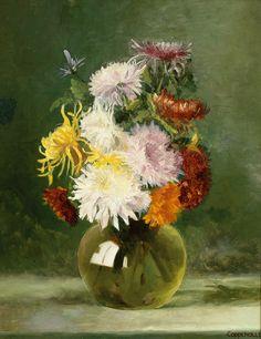 Bez. Coppenolle — Сhrysanthemen Bbouquet in Glass Vase,19th century  (1151х886)