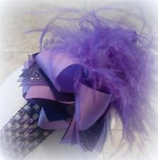 Lavender Purple Over the Top Ostrich Feather Hair Bow Boutique Pageant OTT BIG