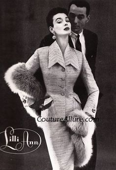 "This 1955 suit is fashioned of a fabric called ""Trouville"", a blend of silk, mohair, and worsted. Check out the seaming on the collar, where the stripes are perfectly matched. Sold in 1955 for about $100.00 (about $814.00 in today's dollar.)"