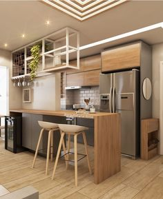 Cozinha lindíssima e super aconchegante. … – Kitchen World One Wall Kitchen, Kitchen Room Design, Home Room Design, Kitchen On A Budget, Home Decor Kitchen, Interior Design Kitchen, Kitchen Furniture, Kitchen Modular, Küchen Design