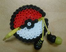 Pokemon Pokeball perler bead earbud wrap. This too awesome. I have to make this.