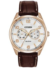 Citizen Men's Eco-Drive Brown Leather Strap Watch 42mm AO9023-01A - Watches - Jewelry & Watches - Macy's