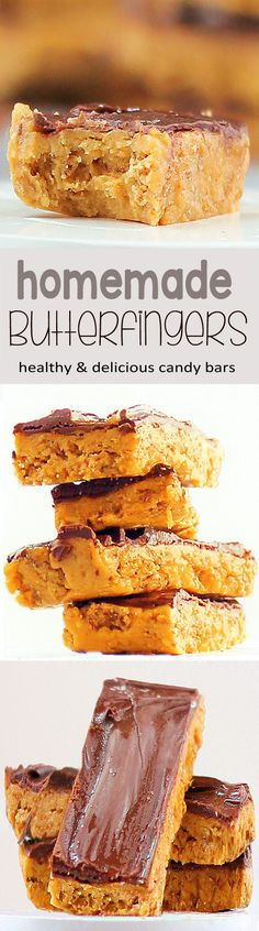 Candy bars that are actually GOOD for you?!... from @choccoveredkt... These healthier butterfingers have the same toffee-like crunch as real Butterfingers., and they are whole-grain, high in iron, and have no high fructose corn syrup! Full recipe: http://chocolatecoveredkatie.com/2012/10/18/healthy-butterfingers/
