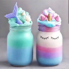 Cool diy unicorn and mermaid milkshakes 🧜🏻♀️🦄 - Mia - Milchshake Diy Unicorn, Unicorn Foods, Unicorn Hair, Fun Drinks, Yummy Drinks, Beverages, Bolo Tumblr, Unicorn Milkshake, Kreative Desserts