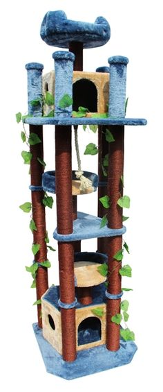 Shop for Kitty Mansions Honolulu Cat Tree Furniture. Get free delivery On EVERYTHING* Overstock - Your Online Cat Supplies Store! Diy Cat Tree, Cat Tree Condo, Cat Condo, Large Cat Tree, Tree Furniture, Luxury Furniture, Painted Furniture, Cat Activity, Cat Towers
